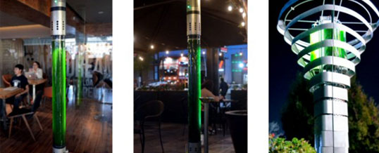 Torres con microalgas filtran el aire como lo harían 360 árboles